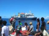 Abordo mi barco en Tokelau